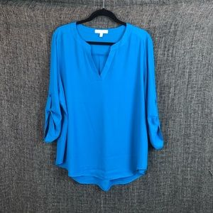 Chaus New York Tab Sleeve V-neck blouse XL